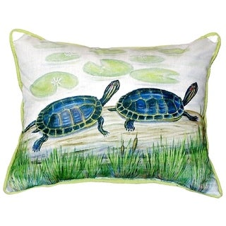 Two Turtles Small Indoor/ Outdoor Throw Pillow