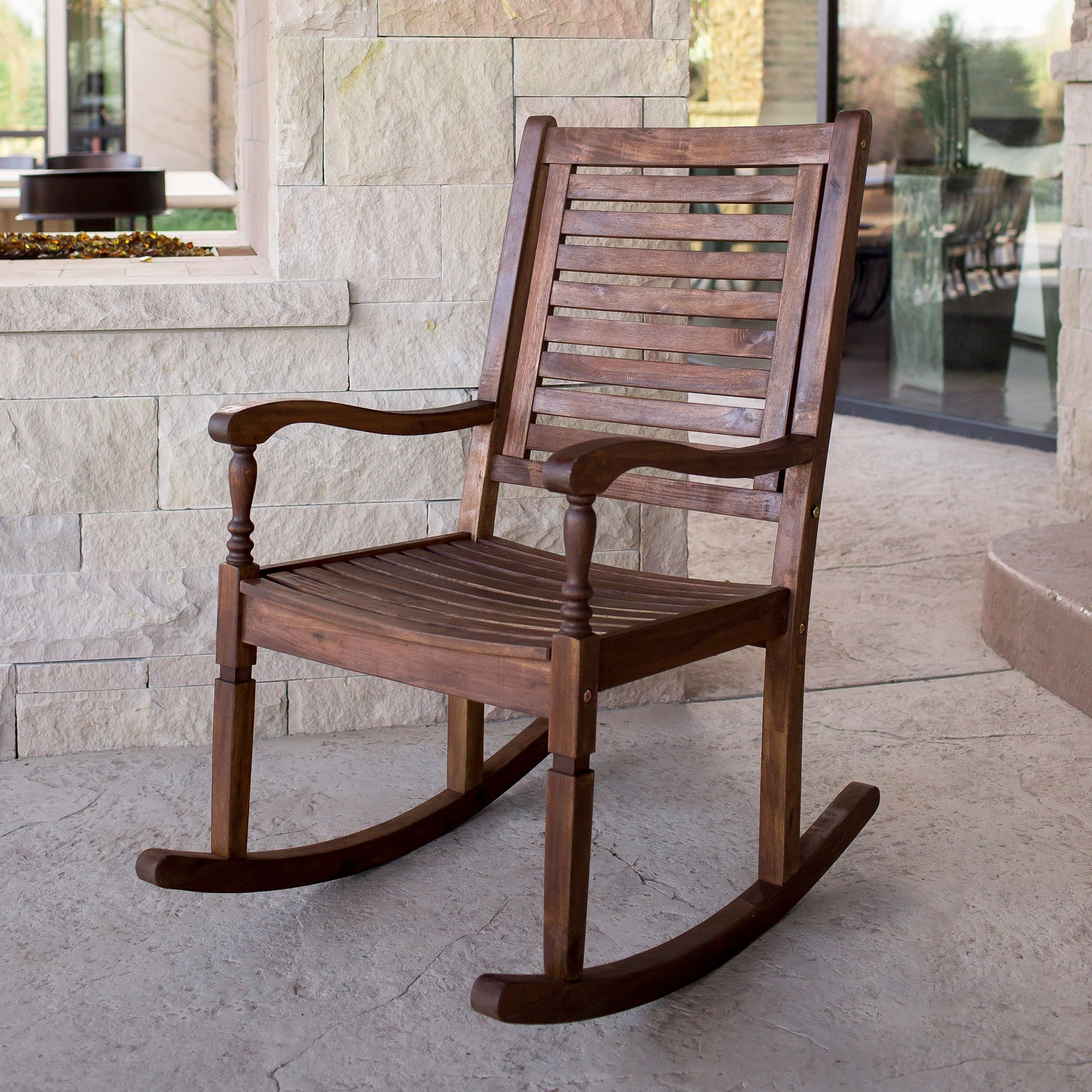 Solid Acacia Wood Rocking Patio Chair Dark Brown Free Shipping On Orders Over 45 14605280
