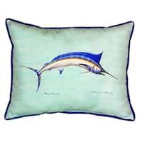 Blue Marlin - Teal Small Indoor/ Outdoor Throw Pillow
