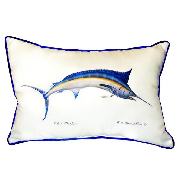 Blue Marlin Small Indoor/ Outdoor Throw Pillow