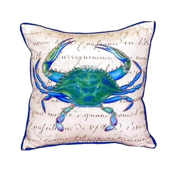 Male Blue Crab Beige Small Indoor Outdoor Throw Pillow Overstock 14605296