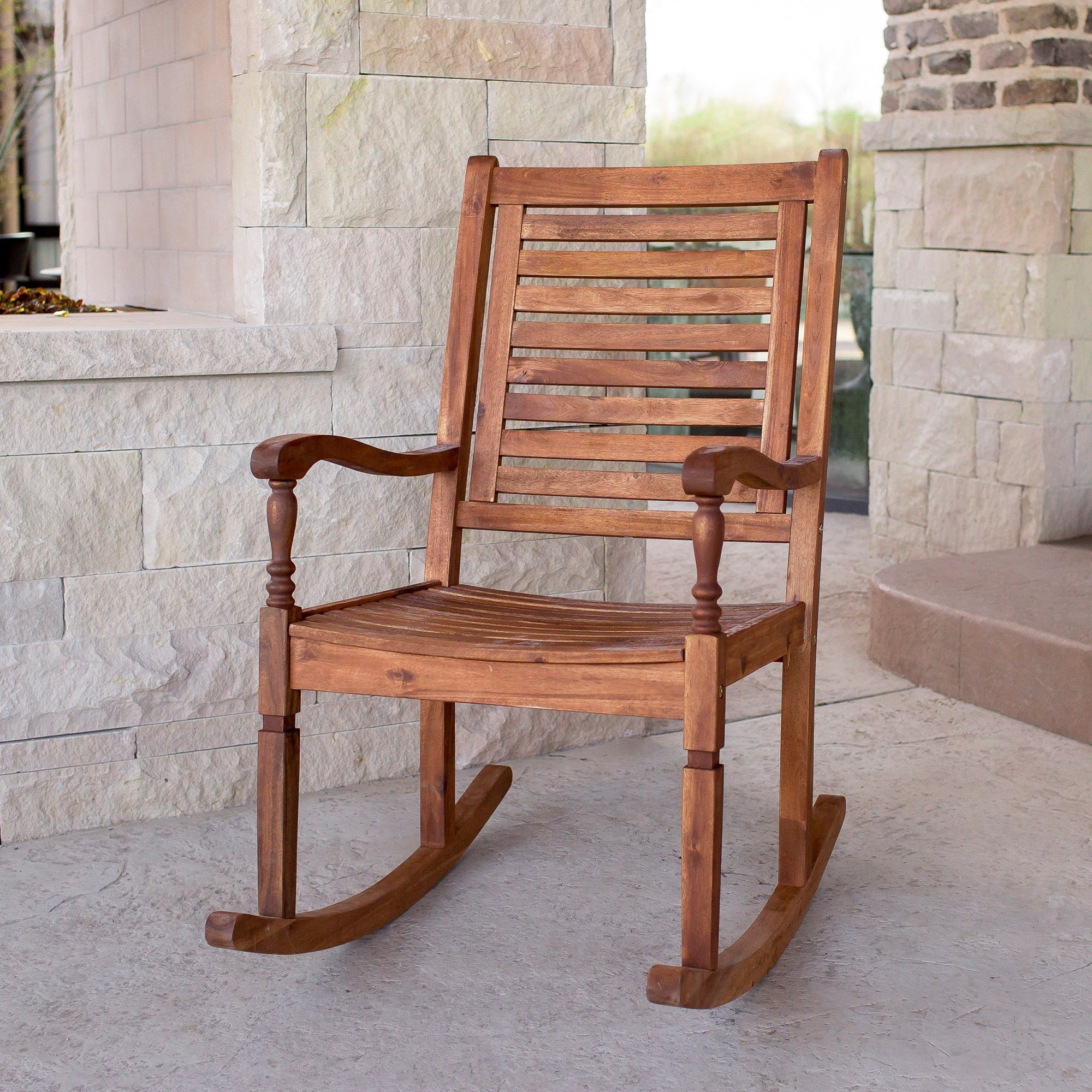 Solid Acacia Wood Rocking Patio Chair, Brown, Patio Furni...