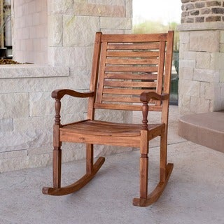 The Gray Barn Bluebird Solid Acacia Wood Rocking Patio Chair - Brown