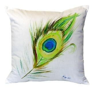 Peacock Feather No Cord Throw Pillow