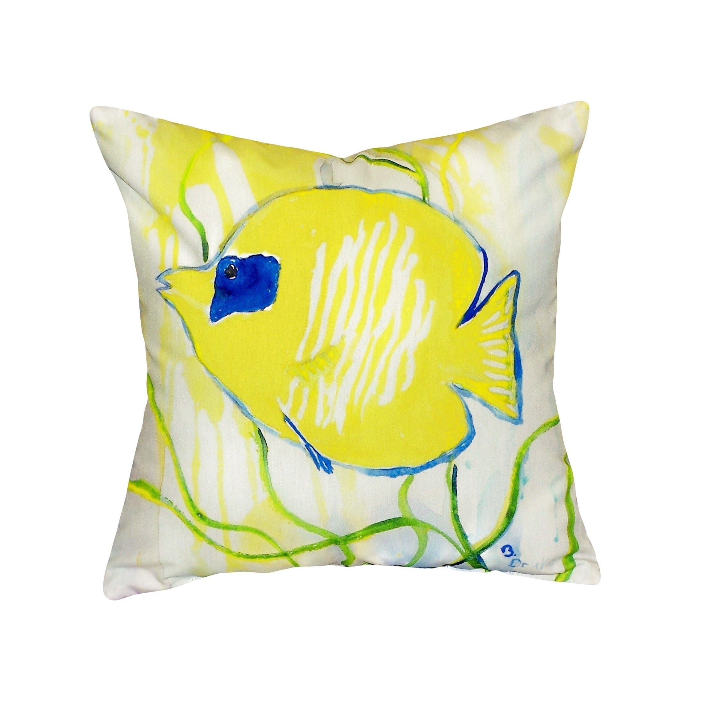 Yellow Tang No Cord Throw Pillow (Size: 18 x 18)