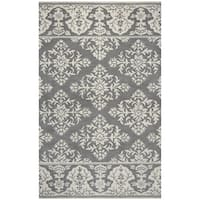 Rizzy Home Marianna Fields Grey Medallion with Damask Border Hand-tufted Wool Area Rug (9' x 12')