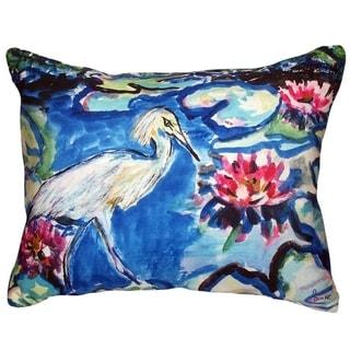 Heron and Waterlilies No Cord Indoor/ Outdoor Throw Pillow