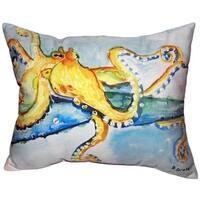 Gold Octopus No Cord Indoor/ Outdoor Throw Pillow