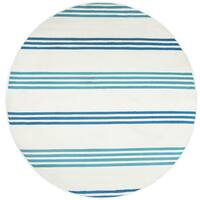 Rizzy Home Glendale Blue/Navy Stripe Area Rug - 5'5 Round