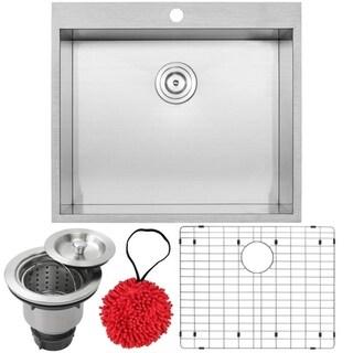 "25"" Ticor PLZ-610 Arlo Series 18-Gauge Stainless Steel Overmount Single Basin Zero Radius Kitchen Sink with Accessories"