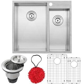 Phoenix 25-inch Stainless Steel Double Bowl Overmount Square Kitchen Sink with Zero Radius Corners
