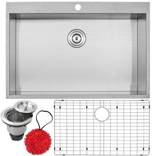 "33"" Phoenix PLZ-615 Arlo Series 18-Gauge Stainless Steel Overmount Single Basin Zero Radius Kitchen Sink with Accessories"