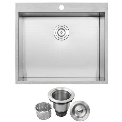 """25"""" Ticor PLZ-610 Arlo Series 18-Gauge Stainless Steel Overmount Single Basin Zero Radius Kitchen Sink"""