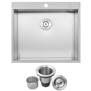 Phoenix 25-inch 18 Gauge Stainless Steel Single Bowl Overmount Square Kitchen Sink with Zero Radius Corners