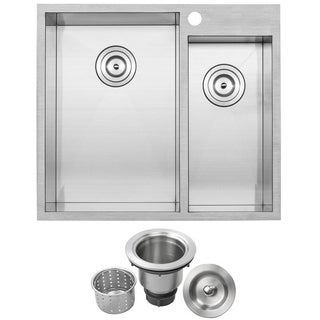 Phoenix Plz 611 25 Inch Stainless Steel Double Bowl Overmount Square Kitchen Sink With