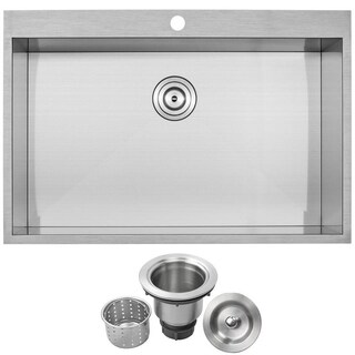 """33"""" Phoenix PLZ-615 Arlo Series 18-Gauge Stainless Steel Overmount Single Basin Zero Radius Kitchen Sink"""