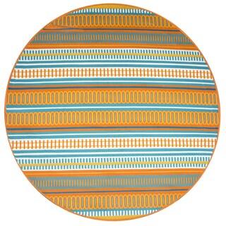 "Glendale multi pattern/stripe Round Area Rug (5'5""Round) - 5'6"" x 5'6"""