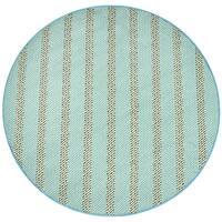 Rizzy Home Glendale Blue/Aqua Stripe Round Area Rug - 5'5-diameter