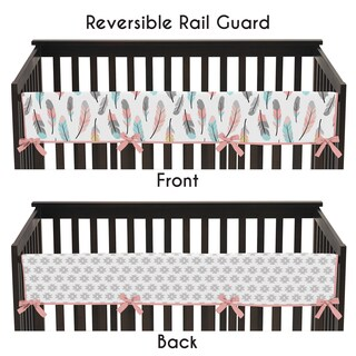 Sweet Jojo Designs Feather Collection Long Crib Rail Guard Cover