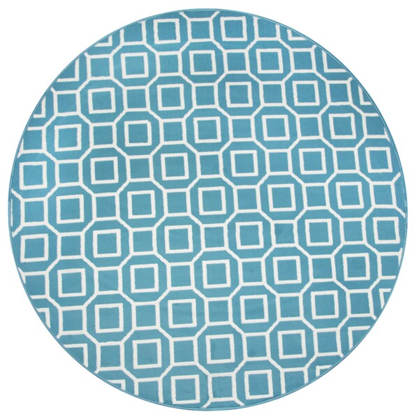 Shop Rizzy Home Glendale Collection Blue/Aqua Geometric