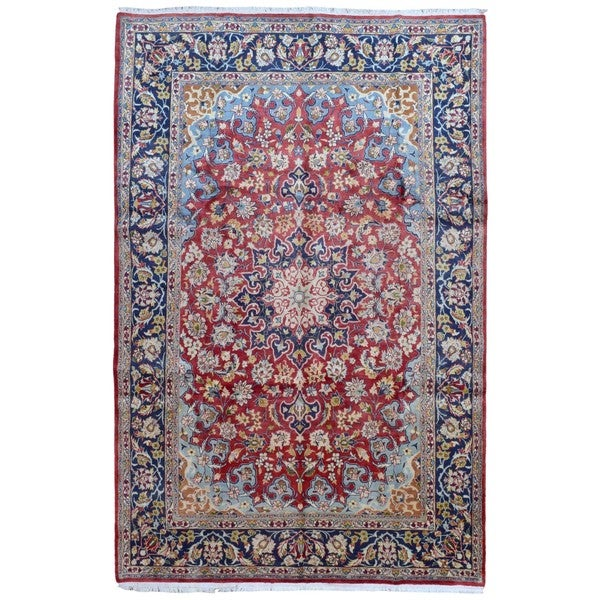Finerugcollection Handmade Semi Antique Persian Isfahan Red Blue Oriental Rug 7 X27