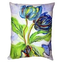 Tulips and Morpho No Cord Throw Pillow