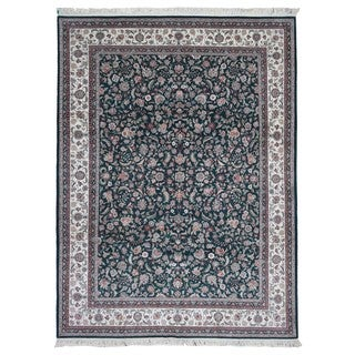 FineRugCollection Handmade Fine Kashan With Silk Green/Pink Oriental Rug (9' x 12')