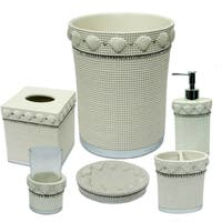 Shells & Diamonds 6 Piece Bath Accessory Set or Separates - Beige