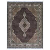 FineRugCollection Handmade Fine Mahi Tabriz With Silk Red/Green Oriental Rug (8' x 10'4)