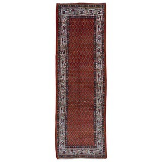 FineRugCollection Hand Made Hamadan Red Wool Runner Rug (3'6 x 10'8)