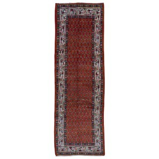 FineRugCollection Hand Made Hamadan Red Wool Runner Rug (3'6 x 10'8)