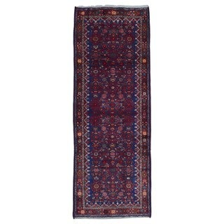 FineRugCollection Hand Made Hamadan Blue Wool Runner Rug (3'10 x 10'4)