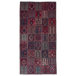 FineRugCollection Hand Made Hamadan Bakhtiari Red Wool Runner Rug (4'5 x 9'4)