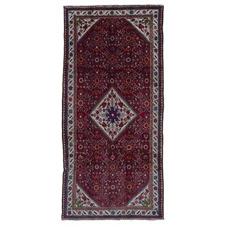 FineRugCollection Hand Made Hamadan Beige Wool Runner Rug (4'9 x 10')