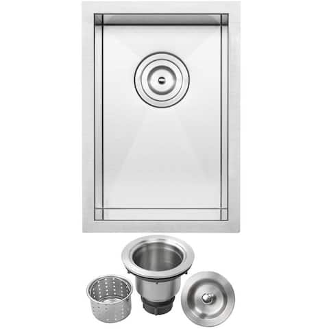 "12"" Ticor S3610 Pacific Series 16-Gauge Stainless Steel Undermount Single Basin Zero Radius Kitchen and Bar Sink"