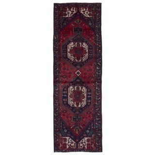 FineRugCollection Hand Made Hamadan Red Wool Runner Rug (3'3 x 9'10)