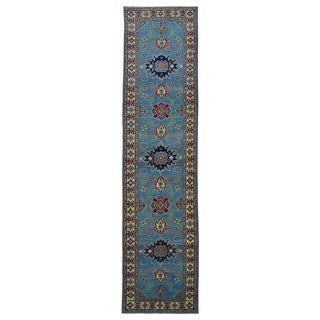 FineRugCollection Hand Made Kazak Blue Wool Runner Rug (2'8 x 10'5)