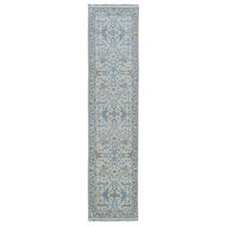 FineRugCollection Hand Made Oushak Beige Wool Runner Rug (2'5 x 10'2)