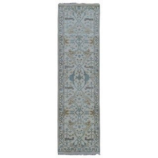 FineRugCollection Hand Made Oushak Beige Wool Runner Rug (2'6 x 8'3)