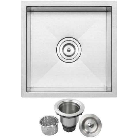 "16"" Ticor S3430 Pacific Series 16-Gauge Stainless Steel Undermount Single Basin Zero Radius Kitchen and Bar Sink"