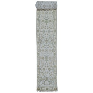 FineRugCollection Hand Made Oushak Beige Wool Runner Rug (2'8 x 20')