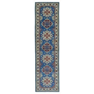 FineRugCollection Hand Made Kazak Blue Wool Runner Rug (2'7 x 9'7)