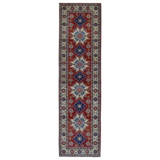 FineRugCollection Hand Made Kazak Blue Wool Runner Rug (2'6 x 9'6)