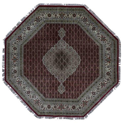 FineRugCollection Hand Made Fine Mahi Tabriz Beige Wool and Silk Octagon Rug