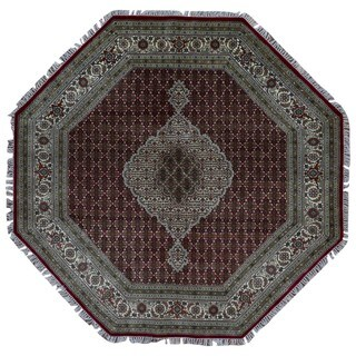 FineRugCollection Hand Made Fine Mahi Tabriz Beige Wool and Silk Octagon Rug (8'2 x 8'2)