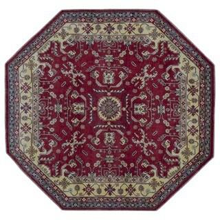 FineRugCollection Hand Made Fine Kazak Red Wool Octagon Rug (8'1 x 8'1)