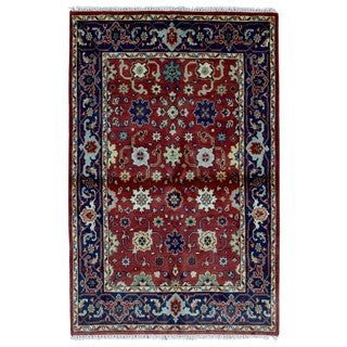 FineRugCollection Hand Made Mahal Red Wool Oriental Rug (4' x 6'1)