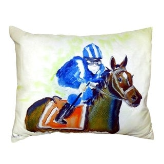 Horse and Jockey No Cord Throw Pillow