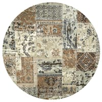 Rizzy Home Bennington Collection Ivory/Tan Patchwork Round Area Rug (7'10 x 7'10)