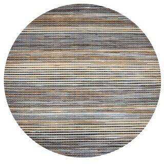 "Bennington blue stripes Round Area Rug (7'10"" Round)"